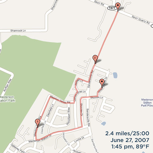 runs via Google Maps Pedometer