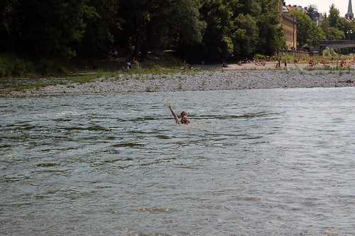 Swimming in the Isar river