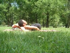 Yoganidrasana 1 (YogiOdie) Tags: park trees shirtless male nature grass sunshine yoga knot stretch stretching contortion flexibility flexible towergrovepark humanpretzel limber humanknot yoganidrasana frontbend
