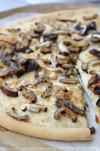 Mushroom and Anchovy Pizza