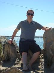Tim climbs a rock. (09/21/07)