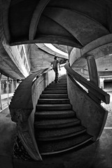 (Mika__) Tags: white black building stairs noir fisheye disused 8mm blanc escalier immeuble peleng abandonn dsaffect unusualviewsperspectives