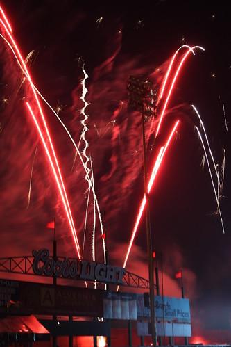 Fireworks over leftfield pavillon - First Energy Stadium