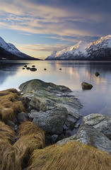 Ersfjordbotn Sunset ii (antonyspencer) Tags: sunset snow mountains norway circle landscape rocks arctic fjord tromso troms troms ersfjord ersfjordbotn