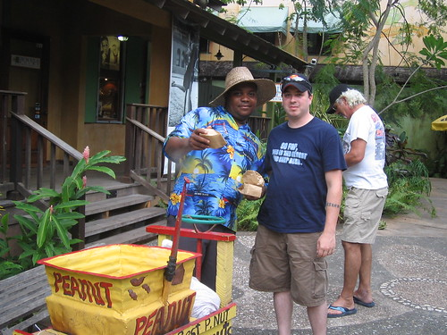 Brian with the Peanut Vendor at Island Village
