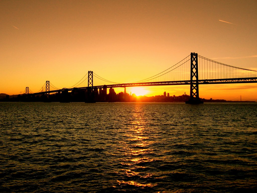 bay bridge at sunset