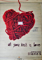 All you knit is love (love is all you knit), Barcelona (chrisjohnbeckett) Tags: barcelona street red urban wool advertising spain knitting closed heart song knit valentine shutters beatles popmusic whiteandred allyouneedislove onholiday chrisbeckett tancatpervacances