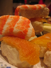 rice krispie square nigiri with marshmallow and canteloupe fish