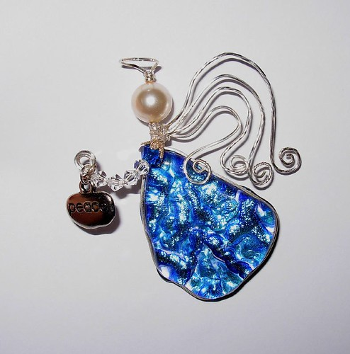 Dichroic Glass and Sterling Angel Pin