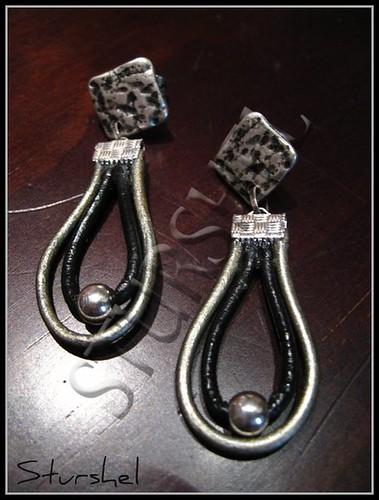 Pendientes Cuero Black&Silver
