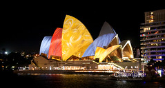 Vivid Sydney 2010 - Sydney Opera House, Circular Quay (Chamelle Designs) Tags: shadow lighthouse tree heritage history church colors beautiful festival buildings spectacular lights rainbow colorful neon arch colours cathedral outdoor projectors sydney australia screen exhibition story event governor nsw hydepark colourful slideshow operahouse luminous screening soh sydneyoperahouse macquariestreet stmaryscathedral litup macquarielighthouse hydeparkbarracks vividsydney macquarievisions macquariearch statelibrarystatelibraryofnsw