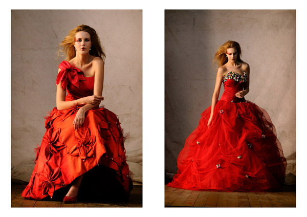 Editorial Bridal Fashion, Red Gowns, Catherine Colubriale Couture, Sydney Australia