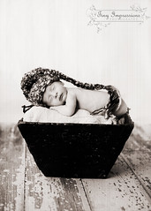 peaceful (Jacqueline Childress Tiny Impressions Photography) Tags: bucket newborn barnwood elfhat