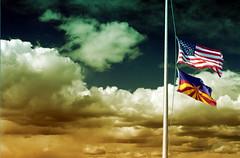 Arizona In Distress (erikakay) Tags: arizona sky phoenix clouds election state politics az down flags symbols distress immigration upside goddard 2010 maricopa racialprofiling maricopamedicalcenter janbrewer sb1070 41013254