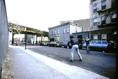 1976 Brooklyn Friend Play Off-The-Wall - Handball (Whiskeygonebad) Tags: nyc friends ny game brooklyn train firealarm pals sidewalk transportation 70s fireescape denim elevated 1970s westend boropark streetplay straightlegpants