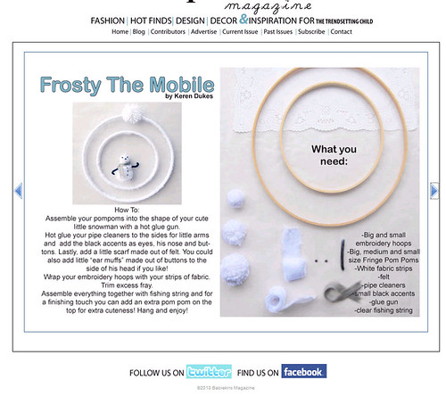 babiekins mag frosty the mobile DIY craft