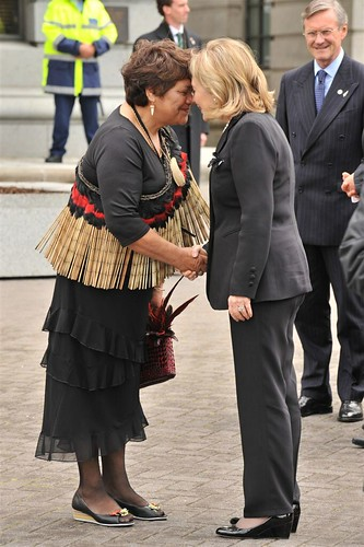The Secretary's first hongi.