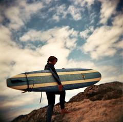 take me to the monster waves.. (czuczy) Tags: sky clouds holga rocks amy surfboard fistral