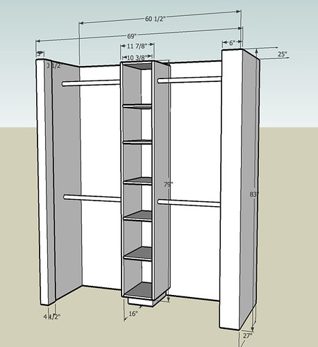 SketchUp plan for the loft closet