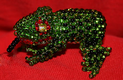 The Frog of Failure (leannrlee) Tags: red green canon frog beaded xti 400d failedmytest retakein10days christmasfrog