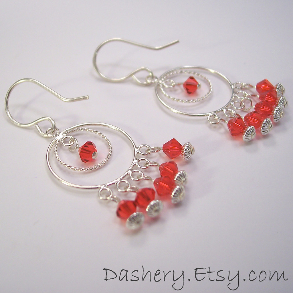 Fiery Red Siam Swarovski Crystals Sterling Silver Circles Chandelier Earrings
