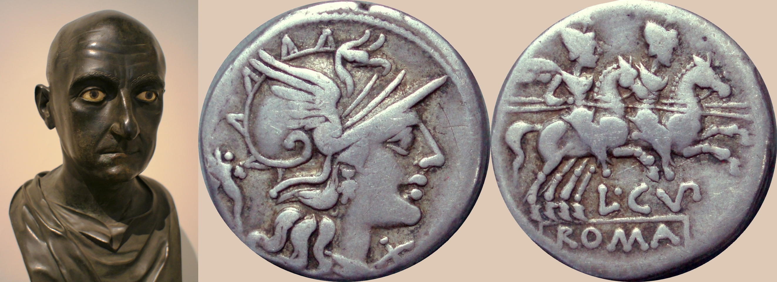 218/1 coin of Cupiennia, 147BC, in the Consulship of Scipio Aemilianus leader of third Punic war against Carthage, with a bust of Scipio Aemilianus 185-129BC