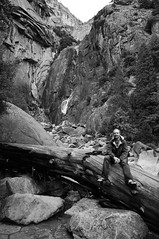 Me at Lower Yosemite Falls (B&W)