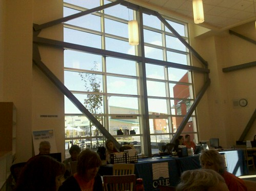 Pic looking out library/reg/recpeption area window at #FallCUE