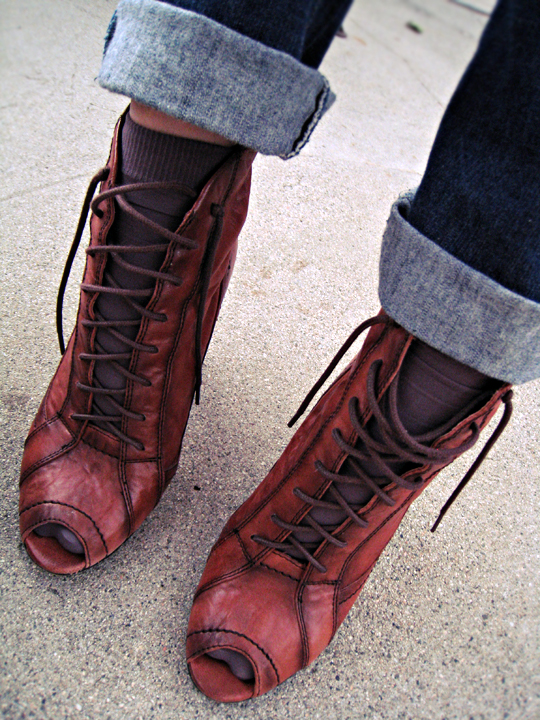 sam edelman lace up ankle boots+boots and socks+cuffs+jeans