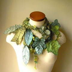Long and Leafy Scarf with Embroidered Leaves- Asparagus Green with Sap Green and Turquoise Berries (Betsie Withey) Tags: flowers motion tree green art nature leaves mi forest scarf woodland botanical leaf women knitting felting embroidery michigan unique crochet inspired free vine folklore sage elf fantasy jungle accessories organic etsy wearable fiberart embroidered saugatuck enchanted berroco applegreen arttowear faeriefairy artscarf blackstonetweed fairywear