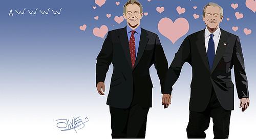 Bush y Blair en amor