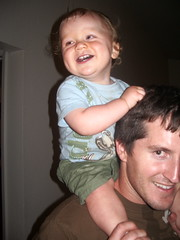 Samuel on Papa's shoulders