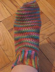 first finished sock on foot