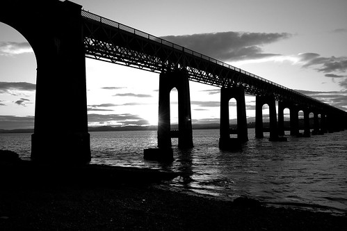 Black and white tay rail bridge photo by ross2085