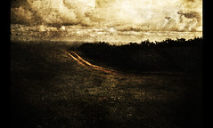 it's just a path (parade in the sky) Tags: texture nature field grass clouds vintage outdoors hawaii grunge surreal nostalgic 1020mm bushes pathway
