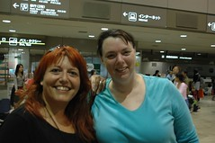 lasirenadolce and Sandy Childress in Narita, waiting for our bus to Yokohama