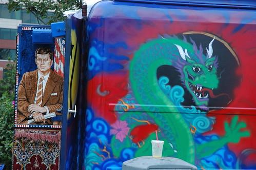 President Kennedy Carpet with Dragon, Hempfest, Seattle, Washington by Wonderlane
