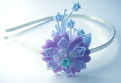 Purple and Blue Vintage Flowers Headband