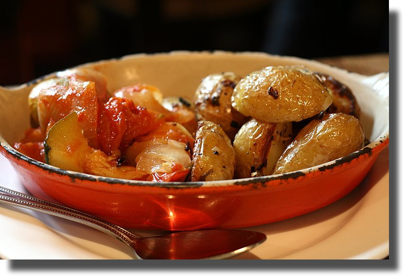 crispy potatoes with onions, and ratatouille
