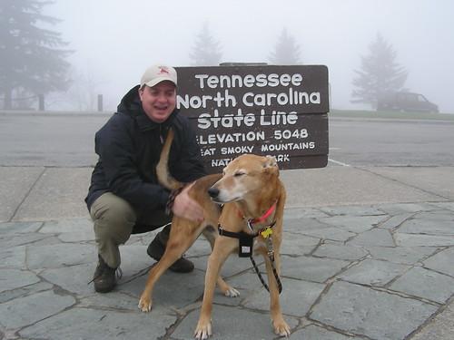 Jolly and David on the Appalachian Trail NC-TN border