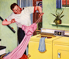 Unmentionables 1959 (MsBlueSky) Tags: man illustration vintage pipe retro 1950s washingmachine 1959 nightie