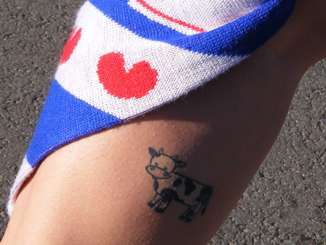 My Third Tattoo- It's a cow on my calf! Three Tattoos.