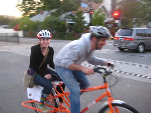 A couple riding on a Yuba Mundo during Flying Pigeon LA's Cargo Bike Date Night in May 2010..
