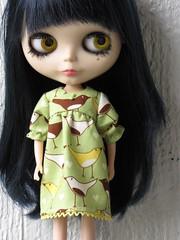 Flock puff sleeved babydoll dress