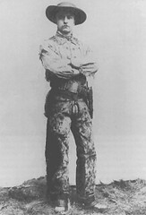 Teddy Roosevelt posing as a cowboy (at the age of 27)
