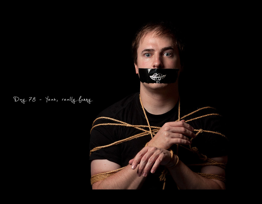 Day 78, Project 365, Self Portrait, Strobist, 078/365, project365, tied up, rope, funny, lips, gag, dark, black, on black, softbox, tape, gaffa