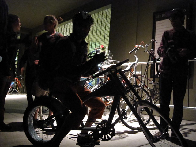 parking our bikes at the afterparty