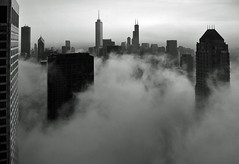 Chicago- Foggy Loop Skyline in B&W (doug.siefken) Tags: park city windows urban usa cloud lake chicago tower art window water weather misty fog skyline architecture clouds skyscraper buildings us illinois artwork downtown heaven day cityscape place wind michigan contemporaryart sears searstower doug foggy cities windy uptown hyatt parkhyatt trumptower elevated hancock douglas trump johnhancock willis urbanscape swirling streeterville chicagoskyline urbanscapes johnhancockcenter citscapes siefken dougsiefken douglasrsiefken chibuildings