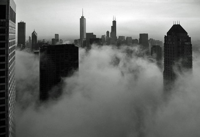 Chicago- Foggy Loop Skyline in B&W