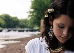 Calm Dam (FatKid23) Tags: flowers cute beautiful earings newjersey model pretty sad dam griffo dukeislandpark flowersinhair necklece kristinagriffo